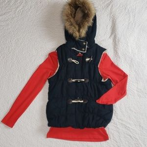 NWT MAURICES puffer navy blue zip up vest size S